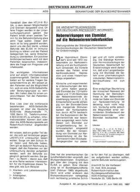DIE ARZNEIMITTELKOMMISSION DER DEUTSCHEN ÄRZTESCHAFT INFORMIERT: Nebenwirkungen von Etomidat auf die Nebennierenrindenfunktion