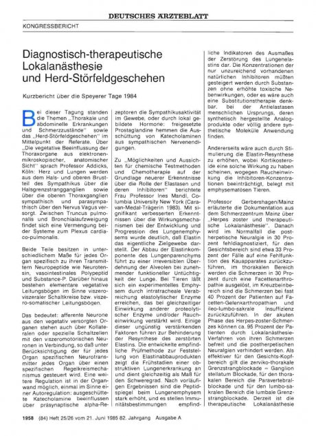 Diagnostisch-therapeutische Lokalanästhesie und Herd-Störfeldgeschehen