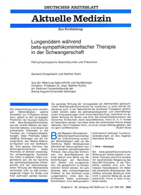 Lungenödem während beta-sympathikomimetischer Therapie in der Schwangerschaft