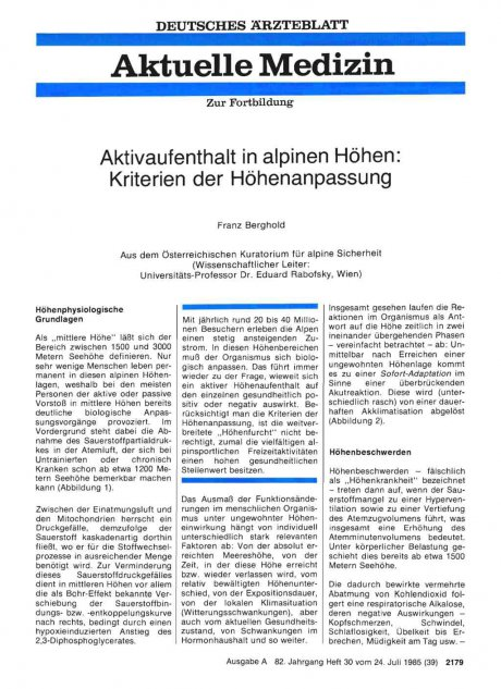 Aktivaufenthalt in alpinen Höhen: Kriterien der Höhenanpassung