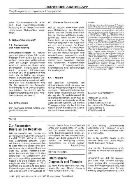 Zur Akupunktur: Briefe an die Redaktion