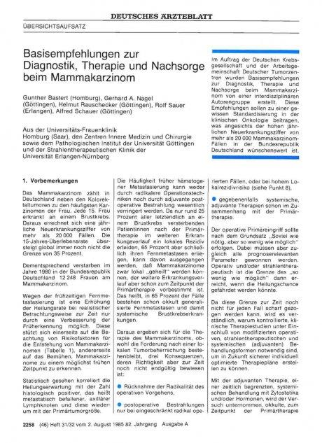 Basisempfehlungen zur Diagnostik, Therapie und...