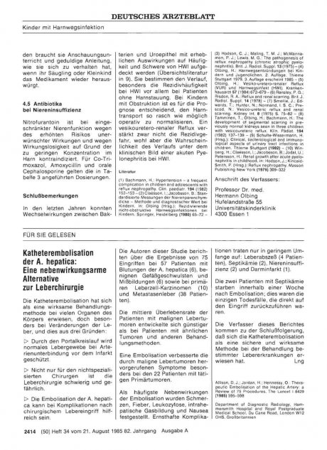 Katheterembolisation der A. hepatica