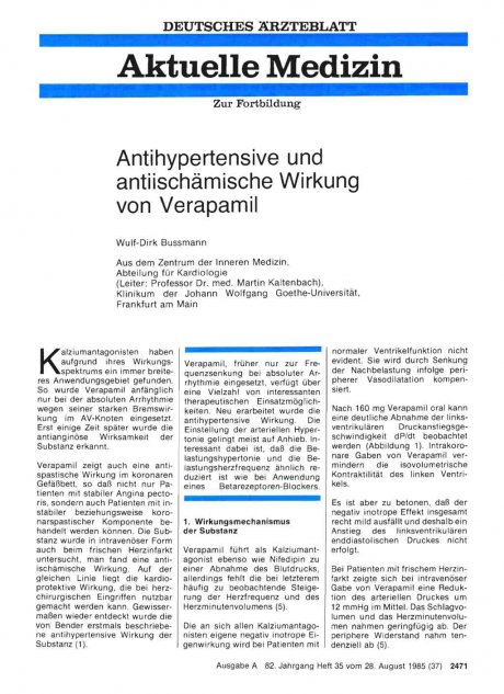 Antihypertensive und antiischämische Wirkung von...