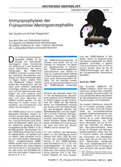 Immunprophylaxe der Frühsommer-Meningoenzephalitis