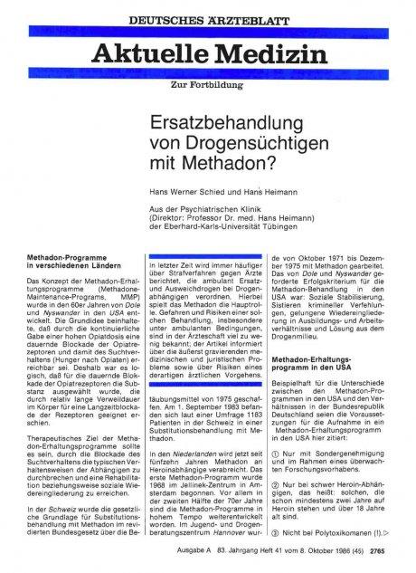 Ersatzbehandlung von Drogensüchtigen mit Methadon?
