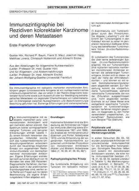 Immunszintigraphie bei Rezidiven kolorektaler...