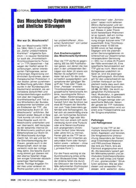 Das Moschcowitz-Syndrom und ähnliche Störungen