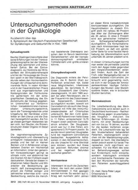 Untersuchungsmethoden in der Gynäkologie