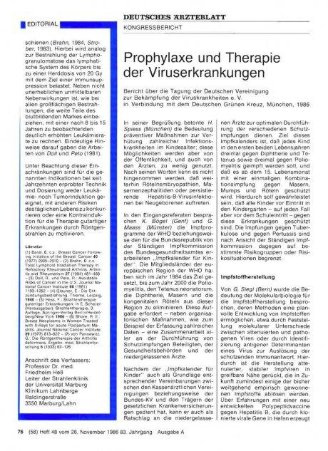 Prophylaxe und Therapie der Viruserkrankungen
