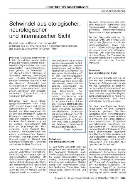 Schwindel aus otologischer, neurologischer und...