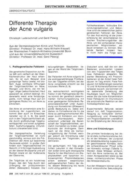 Differente Therapie der Acne vulgaris
