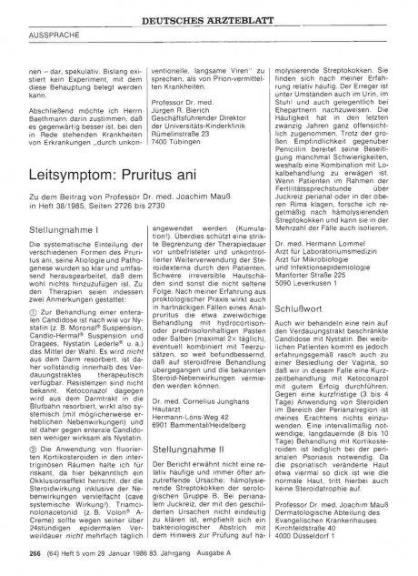 Leitsymptom: Pruritus ani: Stellungnahme I