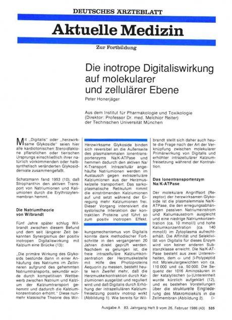 Die inotrope Digitaliswirkung auf molekularer und...