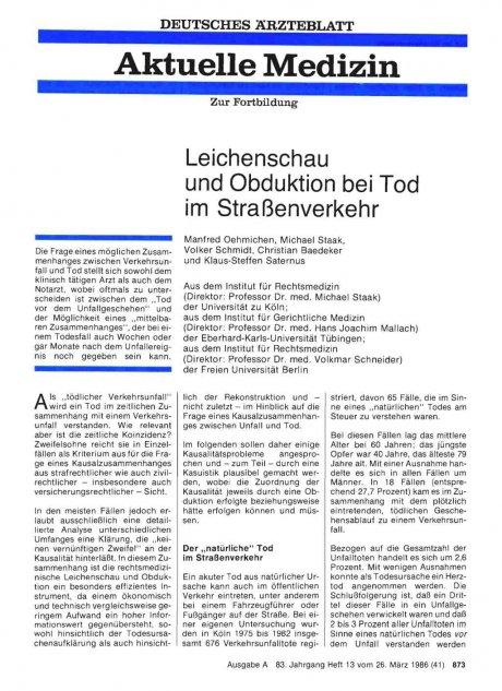 Leichenschau und Obduktion bei Tod im...