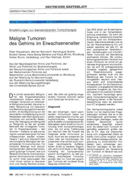Empfehlungen zur standardisierten Tumortherapie