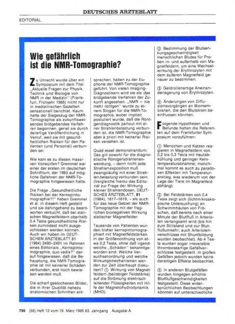 Wie gefährlich ist die NMR-Tomographie?