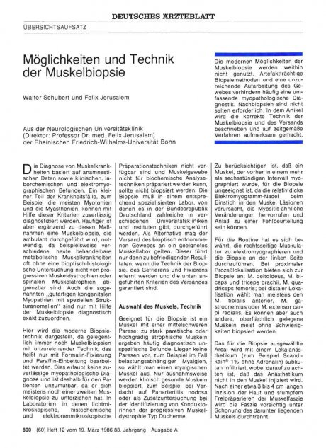 Möglichkeiten und Technik der Muskelbiopsie