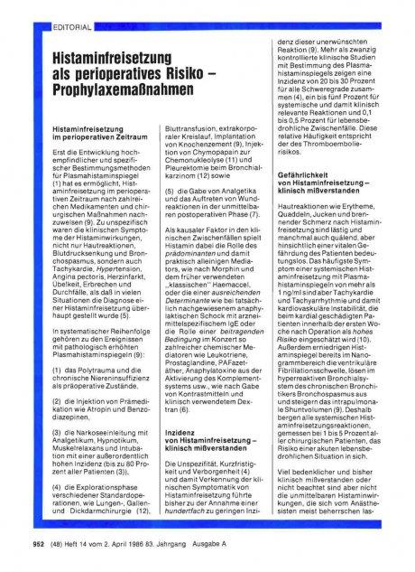 Histaminfreisetzung als perioperatives Risiko –...
