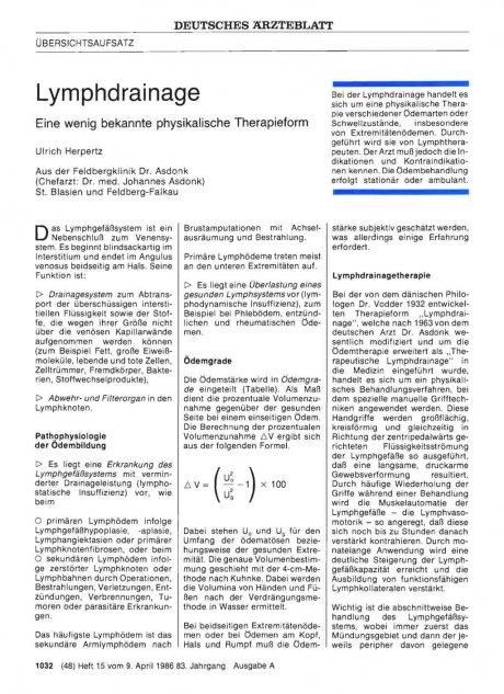 Lymphdrainage – Eine wenig bekannte physikalische...