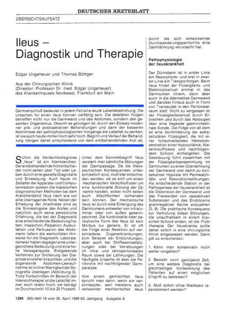 Ileus – Diagnostik und Therapie