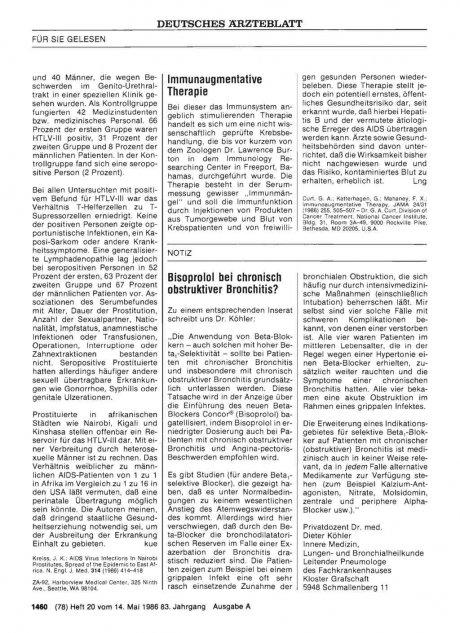 Bisoprolol bei chronisch obstruktiver Bronchitis?