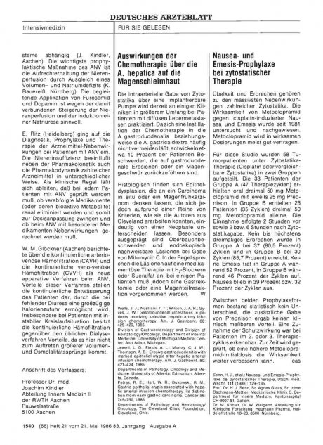 Nausea- und Emesis-Prophylaxe bei zytostatischer...