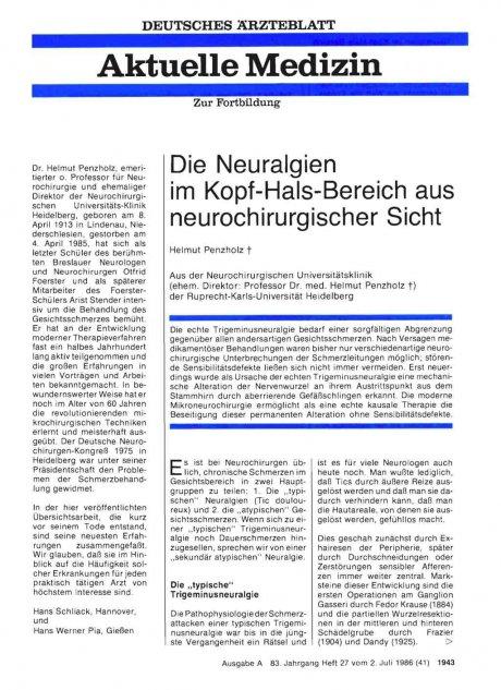 Die Neuralgien im Kopf-Hals-Bereich aus...
