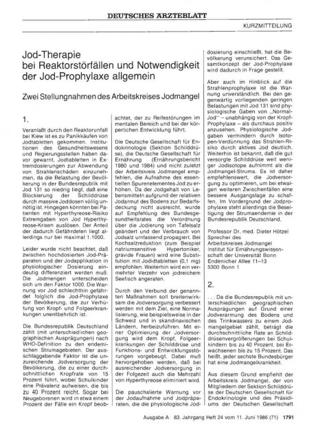 Jod-Therapie bei Reaktorstörfällen und...