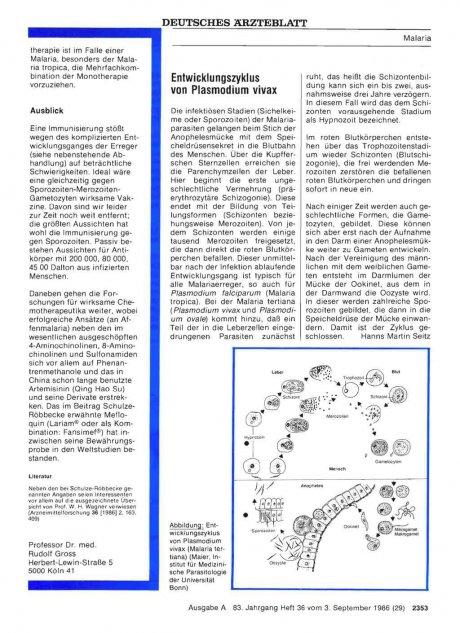 Entwicklungszyklus von Plasmodium vivax