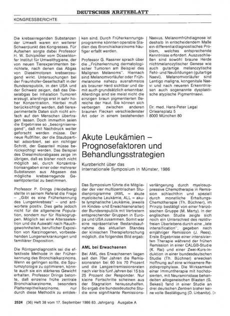 Akute Leukämien — Prognosefaktoren und...
