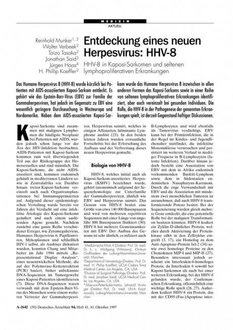 Entdeckung eines neuen Herpesvirus – HHV-8