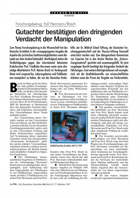 Forschungsbetrug – Fall Herrmann/Brach