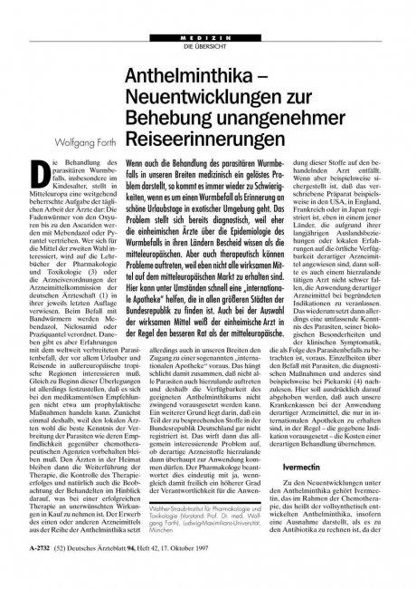 Anthelminthika - Neuentwicklungen zur Behebung...