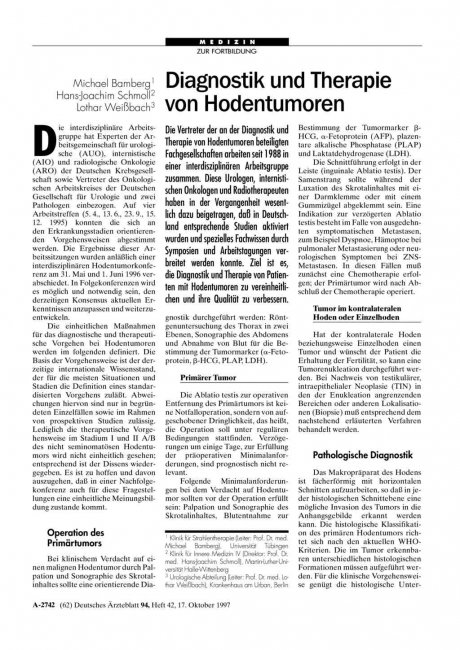 Diagnostik und Therapie von Hodentumoren