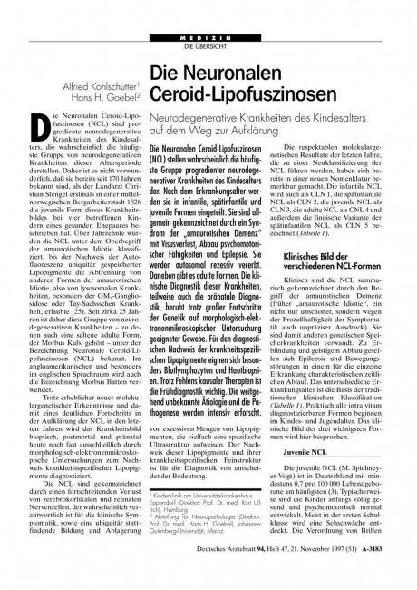 Die Neuronalen Ceroid-Lipofuszinosen: Neurodegenerative Krankheiten des Kindesalters auf dem Weg zur Aufklärung
