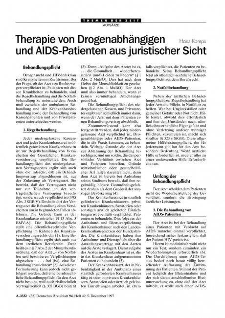 Therapie von Drogenabhängigen und AIDS-Patienten...