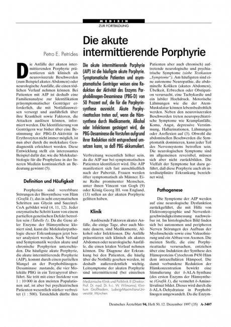 Die akute intermittierende Porphyrie