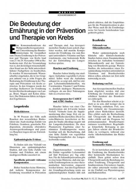 Die Bedeutung der Ernährung in der Prävention und...