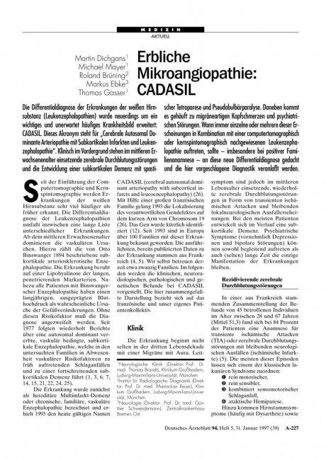 Erbliche Mikroangiopathie: CADASIL