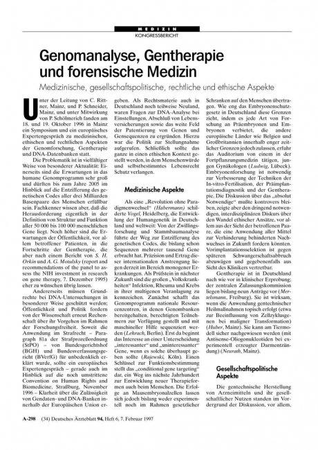 Genomanalyse, Gentherapie und forensische Medizin