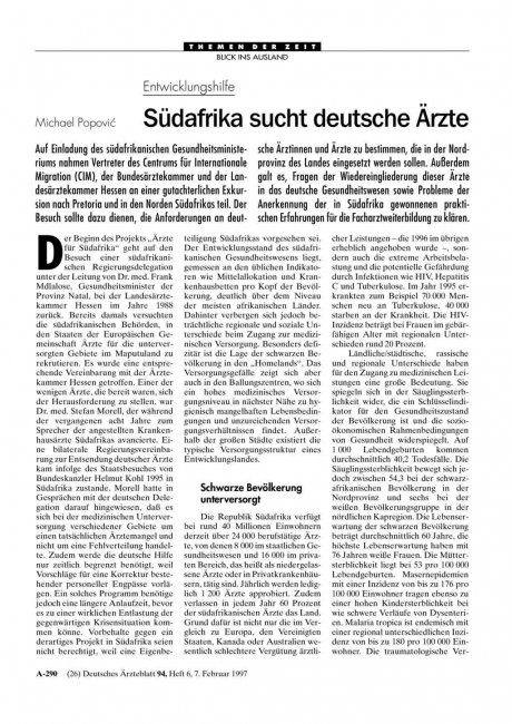 Entwicklungshilfe: Südafrika sucht deutsche Ärzte