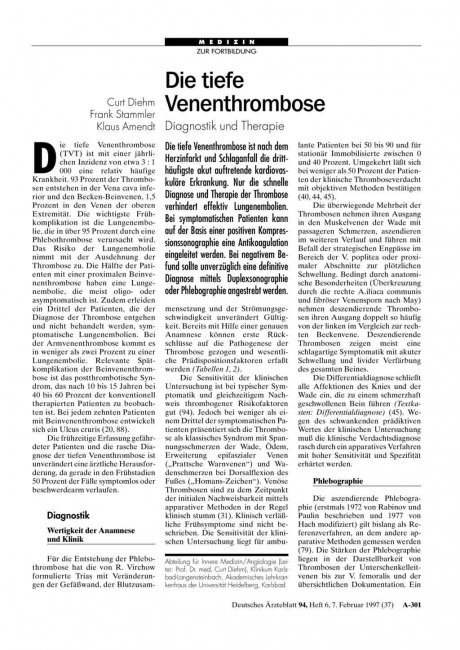 Die tiefe Venenthrombose: Diagnostik und Therapie
