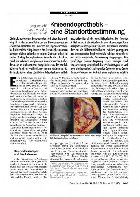 Knieendoprothetik - eine Standortbestimmung