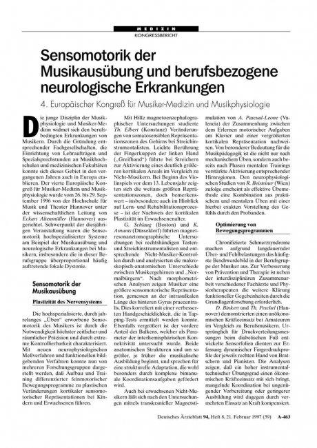 Sensomotorik der Musikausübung und berufsbezogene...