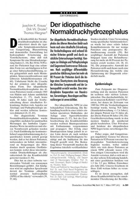 Der idiopathische Normaldruckhydrozephalus