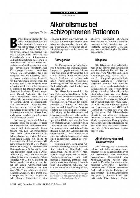 Alkoholismus bei schizophrenen Patienten