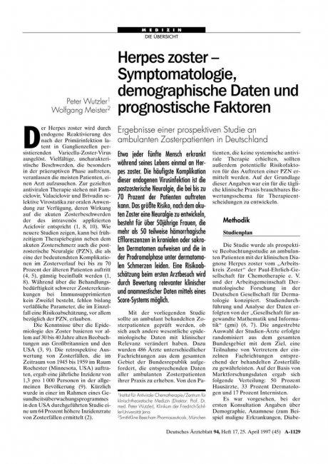 Herpes zoster - Symptomatologie, demographische...