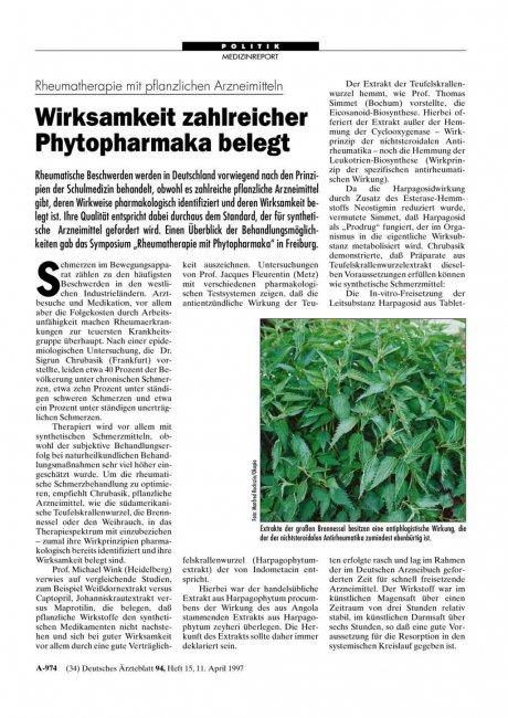 Rheumatherapie mit pflanzlichen Arzneimitteln
