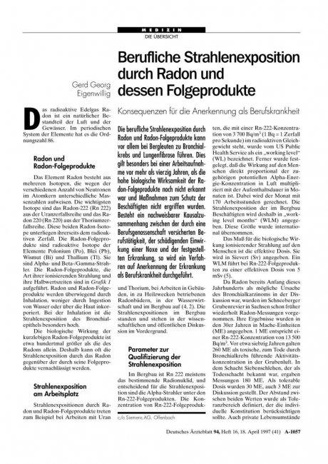 Berufliche Strahlenexposition durch Radon und...